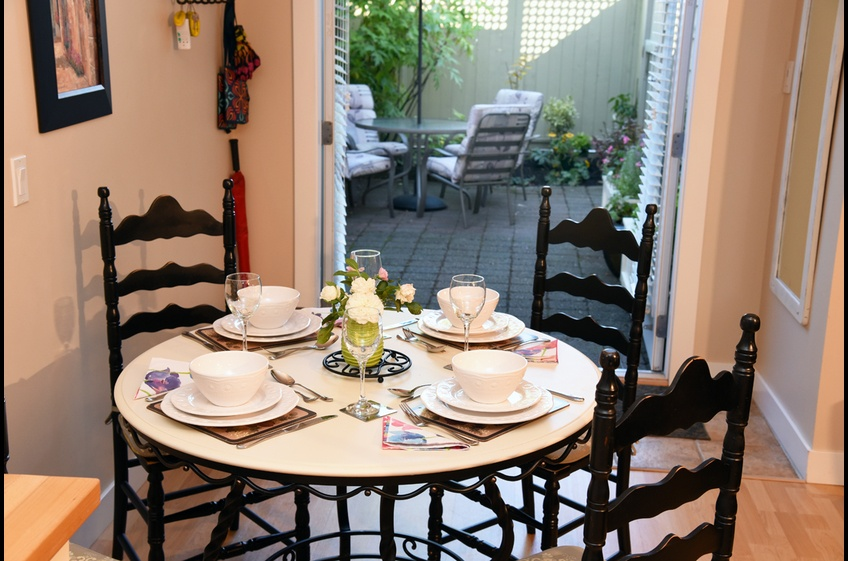 Dining inside or outside at Ferry Walk House, Horseshoe Bay, West Vancouver, BC